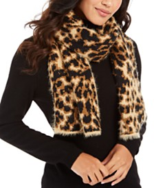 DKNY Fuzzy Animal Print Knit Scarf