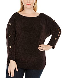 Plus Size Metallic-Threaded Split-Sleeve Top, Created For Macy's