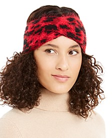 Fuzzy Animal Print Knit Twist Headband