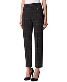 Pull-On Plaid Pintucked Pants