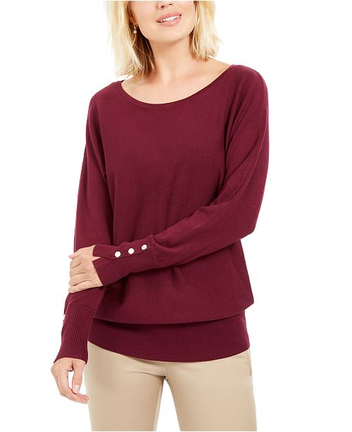 JM Collection Studded Dolman-Sleeve Sweater, Created For Macy's
