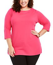 Karen Scott Plus Size Cotton Tunic Top, Created for Macy's