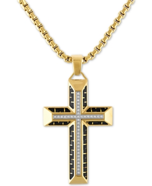 """Diamond Cross 22"""" Pendant Necklace in Gold Tone Ion-Plated Stainless Steel & Black Carbon Fiber"""