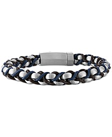 Braided Leather Bracelet in Stainless Steel, Created for Macy's