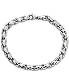 Men's Medium Wheat Link Chain Bracelet in Sterling Silver