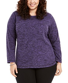 Plus Size Marled Microfleece Top, Created For Macy's