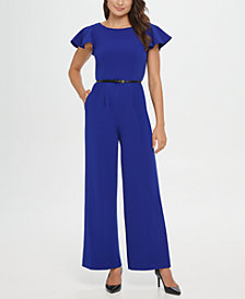 Calvin Klein Jumpsuit With Ruffle Sleeves