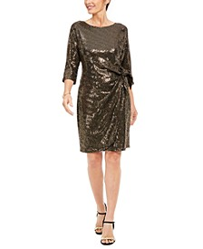 Petite Metallic Knotted Sarong Dress