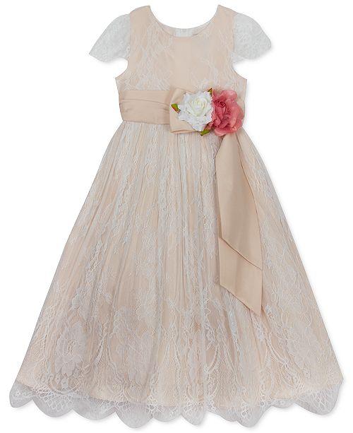 Rare Editions Little Girls Embroidered Flower-Waistband Dress