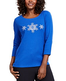 Cotton Snowflake-Print T-Shirt, Created For Macy's