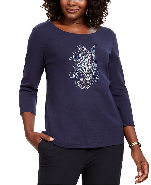 Karen Scott Petite Cotton Embellished Seahorse Top, Created For Macy's