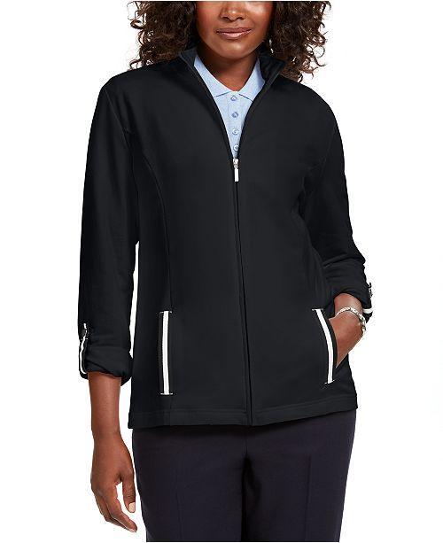 Karen Scott Petite Contrast-Trim Warm-Up Jacket, Created For Macy's