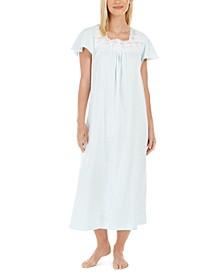 Women's Cotton Lace-Trim Long Nightgown