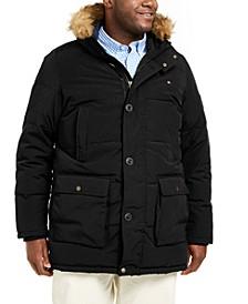 Men's Big & Tall Long Parka Jacket with Faux Fur Hood