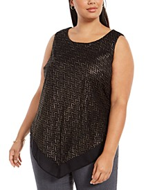 Plus Size Metallic-Threaded V-Hem Top, Created For Macy's