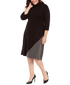 Plus Size Colorblocked Mock-Neck Dress