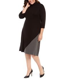 Calvin Klein Plus Size Colorblocked Mock-Neck Dress