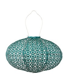 Soji Stella Oval Wagon Wheel Metallic Emerald Solar Lantern