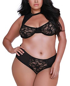 Dreamgirl Women's Lingerie Plus Size Stretch Lace and Mesh High Neck Bralette and Panty