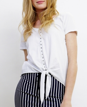 1804 Womens Eyelet Tie Front T-Shirt