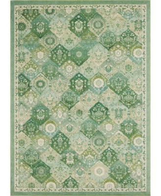 Lorem Lor2 Green 8' x 8' Square Area Rug