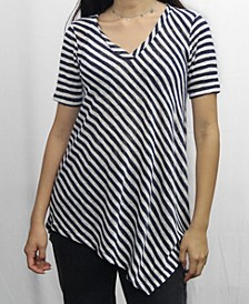 Womens Stripe V-Neck Asymmetric Short Sleeve