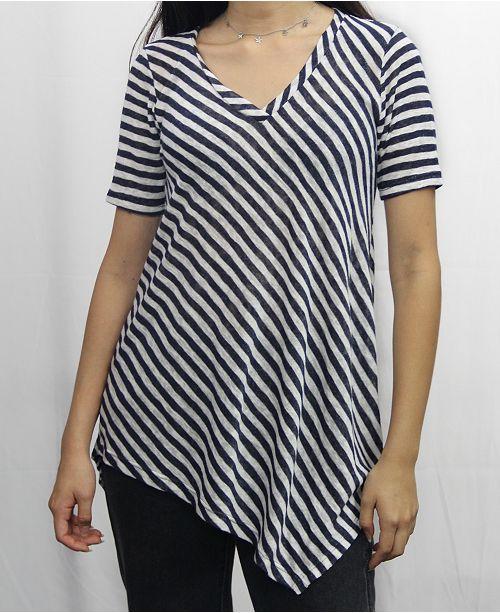 COIN 1804 Womens Stripe V-Neck Asymmetric Short Sleeve