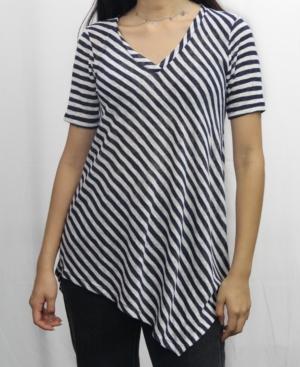 1804 Womens Stripe V-Neck Asymmetric T-Shirt