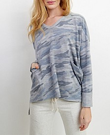 Womens Camo Print V Neck Pocket Dolman Top