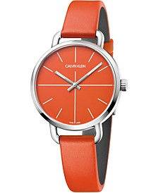 Unisex Even Orange Leather Strap Watch 36mm