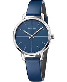 Women's Even Navy Blue Leather Strap Watch 36mm