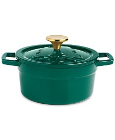 Martha Stewart Collection 2-Qt. Green Embossed Enameled Cast Iron Dutch Oven, Created For Macy's
