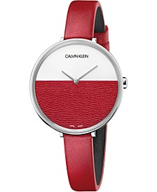 Women's Rise Red Leather Strap Watch 38mm