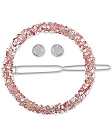 Silver-Tone Crystal Circle Hair Barrette & Stud Earrings Set