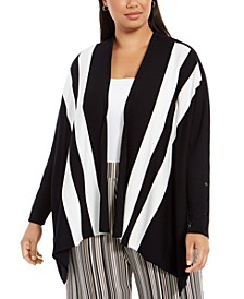 Plus Size Striped Open-Front Cardigan, Created For Macy's