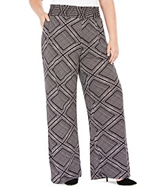 Plus Size Printed Smocked-Waist Pants