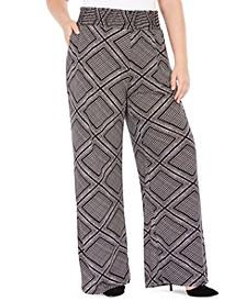 Plus Size Printed Smocked-Waist Pants