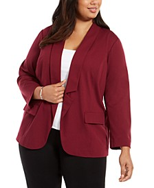 Plus Size Notched-Collar Open-Front Blazer, Created for Macy's