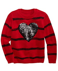 Toddler Girls Sequined Heart Striped Sweater, Created For Macy's