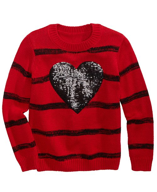 Epic Threads Toddler Girls Sequined Heart Striped Sweater, Created For Macy's