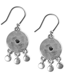 Silver-Tone Pavé Drop Earrings