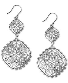 Silver-Tone Geometric Openwork Statement Earrings