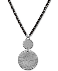 "Silver-Tone Circle Leather-Woven Pendant Necklace, 18"" + 2"" extender"