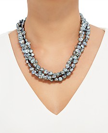"""Honora Gray Keshi Cultured Pearl (9mm) Triple Strand 20"""" Statement Necklace"""