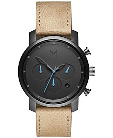 Men's Chrono Sandstone Leather Strap Watch 40mm