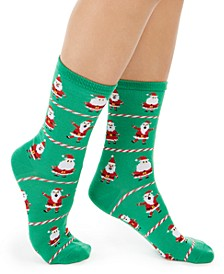 Women's Santa Crew Socks, Created For Macy's