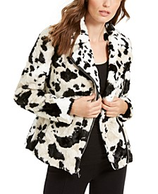 INC Faux-Fur Cow-Print Coat, Created For Macy's
