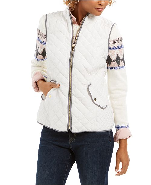 Charter Club Quilted Stand-Collar Vest, Fair Isle Sweater & Button-Front Top, Created for Macy's