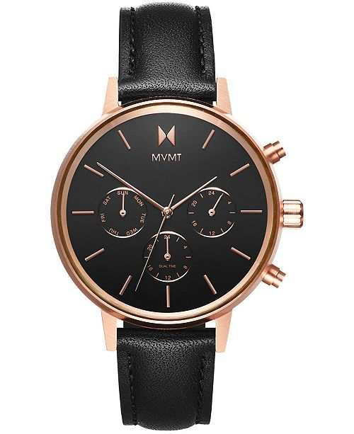 MVMT Women's Nova Vela Black Leather Strap Watch 38mm