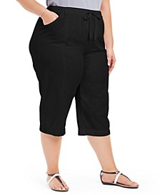 Plus Size Button-Cuff Capri Pants, Created For Macy's